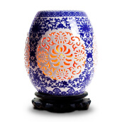 Gifts-Clean jade jieyideco magnolia bottle purification air salt lamp ceramic series blue and blue New Year gift to send long-term leadership home decoration lamp TCQH019 on JD