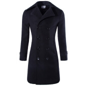 Cardigans-Mooncolour Men's  Medium Style Woolen Double Breasted Coat on JD