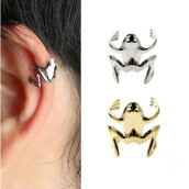 Clip Earrings-MyMei 1PC Fashion Punk Style Silver/Golden Plated Frog Cuff Ear Clip Wrap Earrings on JD