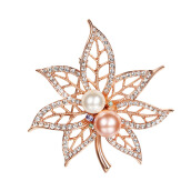 Brooches-Italia maple brooch with Swarovski elements fashion gift gold-plated on JD