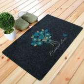 Area Rugs & Doormats-FOOJO modern fasionable entering door mat floor mat bathroom skid-proof door mat 50*80cm Black back blue flower on JD