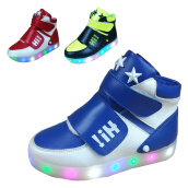 Boys Shoes-Kid Boy LED Light Up High Top Sneaker athletic Shoes breathabe on JD