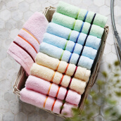Bedding & Bath-[Jingdong Supermarket] Grace (Grace) home textile towel cotton plain soft face towel ten loaded red 3 blue 3 green 2 yellow 2 74 * 34cm 85g / on JD