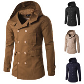 Cardigans-Winter Men Hoodie Double breasted Coat Woolen Windbreaker on JD