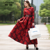 Casual-DF · RS 2016 winter new long-sleeved jacquard dress big swing long skirt on JD