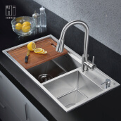 Kitchen Accessories-HIDEEP kitchen sink 304 stainless steel sink on JD