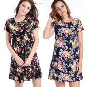 Casual-2017 Women Dress Short Sleeve Flora Print Mini Skirt on JD