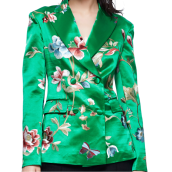 Suiting & Blazers-Chinese embroidered grass green silk suit jacket on JD