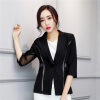 Women Single Button Blazer Half Sleeve Hollow Out Design Casacos Femininos Basic Jackets Candy Color Female Blazers Suits