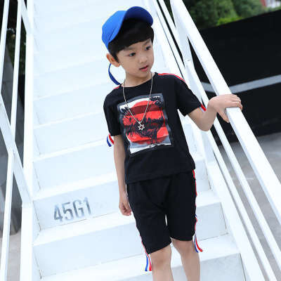 New Arrival Kids Boys Short-Sleeved O-Neck Suits Wholesale Children Boys Casual T-Shirt Two-Piece Small Medium Children Sets