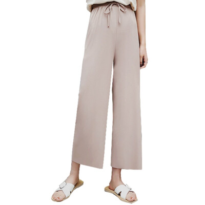 Autumn High Waist Stretch Knit Wide Leg Pants Women Drawstring Solid Color Loose Straight Long pant