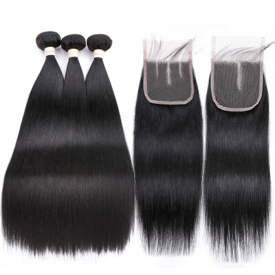 Allrun Straight Hair Extensions With Closure 44 23 Bundles Human Hair Weave With Three Part Lace Closure