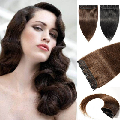 100 Remy Human 34 Full Head 1 Piece 5 Clips Clip in Remy Human Hair Extensions Silky Straight