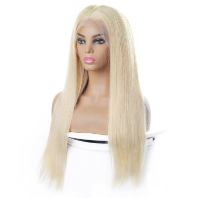 Brazilian Blonde Wig Straight 44 Lace Closure Human Hair Wigs Blonde Color 613 Human Hair 44 Lace Front Wigs Blonde Hair