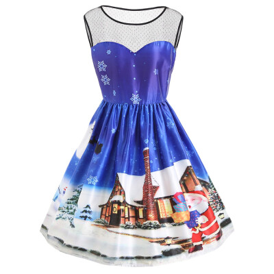 Plus Size Christmas Countryside Snow Day Vintage Dress