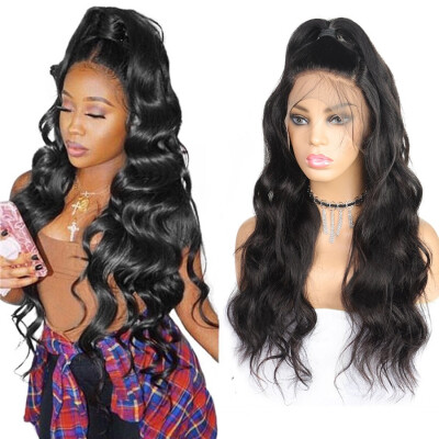 """8A Body Wave Wigs 360 Lace Frontal wigs 10""""-26"""" Human Hair Wigs Peruvian Hair Pre-plucked Lace Front Wigs Swiss Lace Cap"""