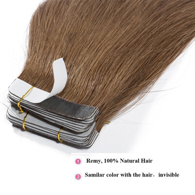 Tape in Human Hair Extensions Highlight Balayage Long Straight Seamless Skin Weft Glue in Hairpieces Invisible 40pcs