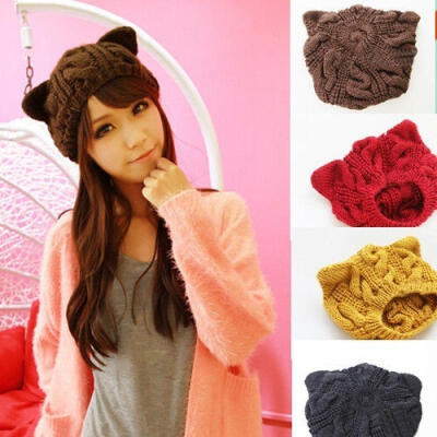 Winter Outdoor Women´s Warm Chunky Knit With Double Cat Ears Cute Beanie Hats Hot