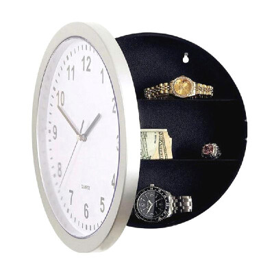 Round Wall Clock Safe Box Home Multifunctional Analog Clock with Secret Interior Storage for Jewelry & Cash