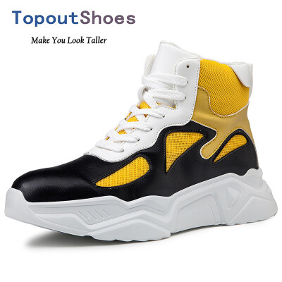 TopoutShoes Height Increasing Men High Top Sneakers Fashion Elevator Skateboarding Shoes Taller 32inch 8cm