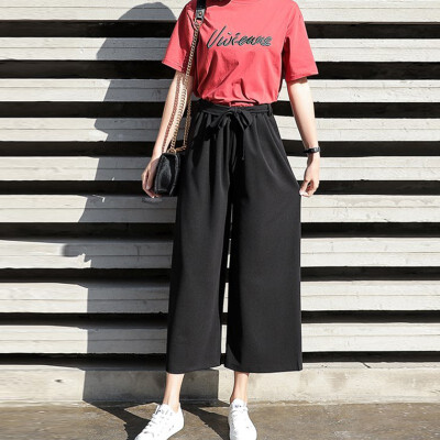 Pants Women Casual Office Lady Loose Chiffon Wide Leg Pants Elastic High Waist Trousers Women Solid Pants pantalones mujer