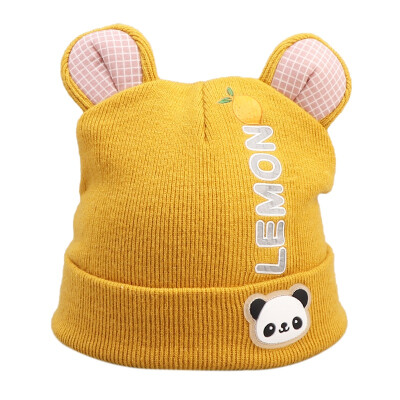 Winter Newborn Cute Warm Kids Girls Boys Hats Baby Cartoon Pattern Hats Knitted Wool Hemming Caps With Ear