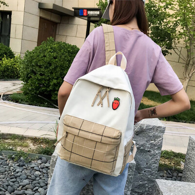Tailored Women Plaid Casual Backpack Fashion Wild Large Capacity Canvas Bag