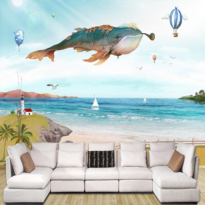 Custom Wall Mural Non-woven Wallpaper Kids Hand Painted Cartoon Whale Balloon Children Room Bedroom Wall Decoration Wallpapers