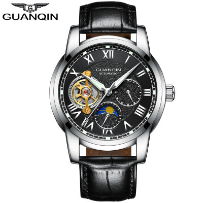 GUANQIN Mens Top Brand Business Waterproof Watch Tourbillon Automatic Mechanical Watch Mens Casual Leather Strap