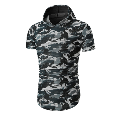 Summer Mens Fashion Short Sleeved Camouflage Casual T-shirt Male Hooded Cotton T-shirts Tops