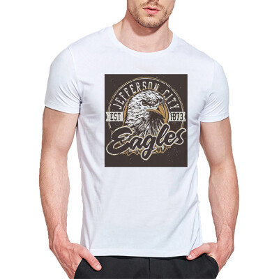 Mens O Round Neck Casual Short Sleeves Fashion Cotton T-Shirts Eagle Head Picture 3D Digital Print
