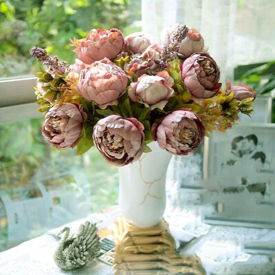 Vanker Bridal Wedding Party Festival Xmas Artificial Peony Silk Flower Decoration Bouquet Cameo