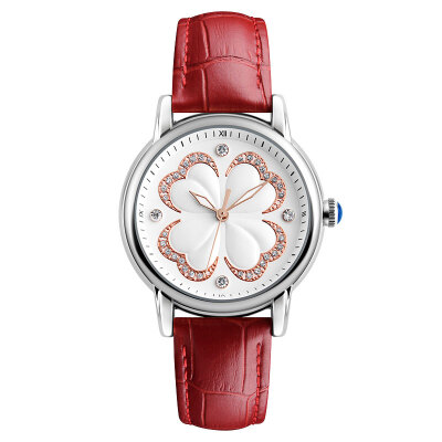 Time beauty skmei ladies watch clover series fashion simple belt quartz female watch white
