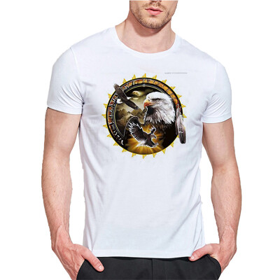Mens O Round Neck Casual Short Sleeves Fashion Cotton T-Shirts Eagle In the Evening Picture 3D Digital Print