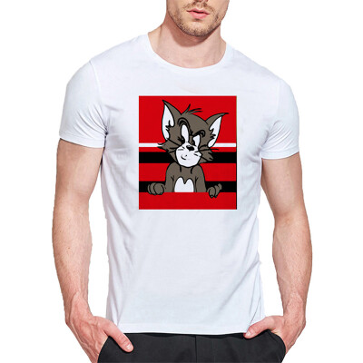 Mens O Round Neck Casual Short Sleeves Fashion Cotton T-Shirts Animal Picture Digital Print