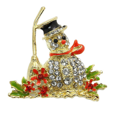 HOT NEW STYLE LOVELY CRYSTAL CHRISTMAS SNOWMAN RED BROOCH PINS Christmas Gifts