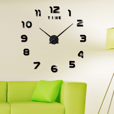 Modern DIY 3D Surface Wall Clock Luxury Mirror Home Crystal Office Room Decor