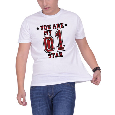 Mens O Round Neck Casual Short Sleeves Fashion Cotton T-Shirts The No1 Star Letter Digital Print