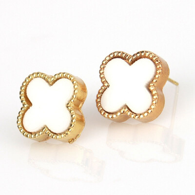 1 Pair Women Earring Sweet Cute Shape Clover Four Leaves Enamel Statement Knot