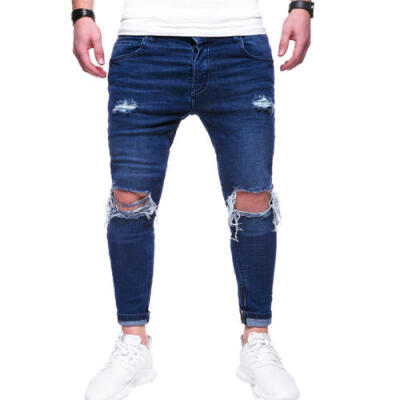 US Seller Mens Ripped Skinny Biker Jeans Destroyed Frayed Slim Fit Denim Pants
