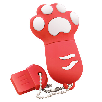 Right Transshow cartoon series colorful cat paw 8GB creative gift U disk red