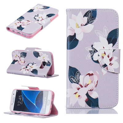 Gray lily Design PU Leather Flip Cover Wallet Card Holder Case for SAMSUNG GALAXY S7