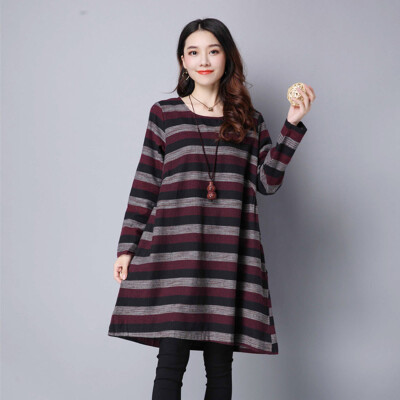 2 colors -XXL Plus Size Women Dress Chinese Style Striped Autumn Dress Cotton and Linen Loose Dresses