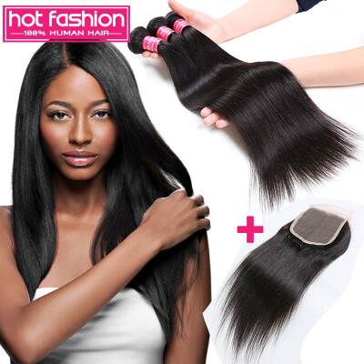Hot Fashion Hair Products With Closure 3 Bundles Malaysian Straight Hair With Closure Straight Malaysian Virgin Hair With Closure