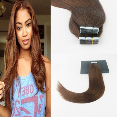 Pure Color #4 Straight Hair 2Pcs/Lot Brazilian Remy Hair 50G 20Pcs Per Package High Quality Skin Weft Hair Extensions