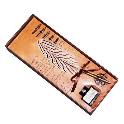 Feather Quill Pen Beautiful Antique Writing Dip Calligraphy Natural Quill Pen Set Wonderful Gift in Box