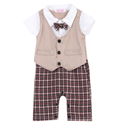 Newborn Kid Baby Boy Infant Outfits Set Child Gentleman Jumpsuit Romper Bodysuit