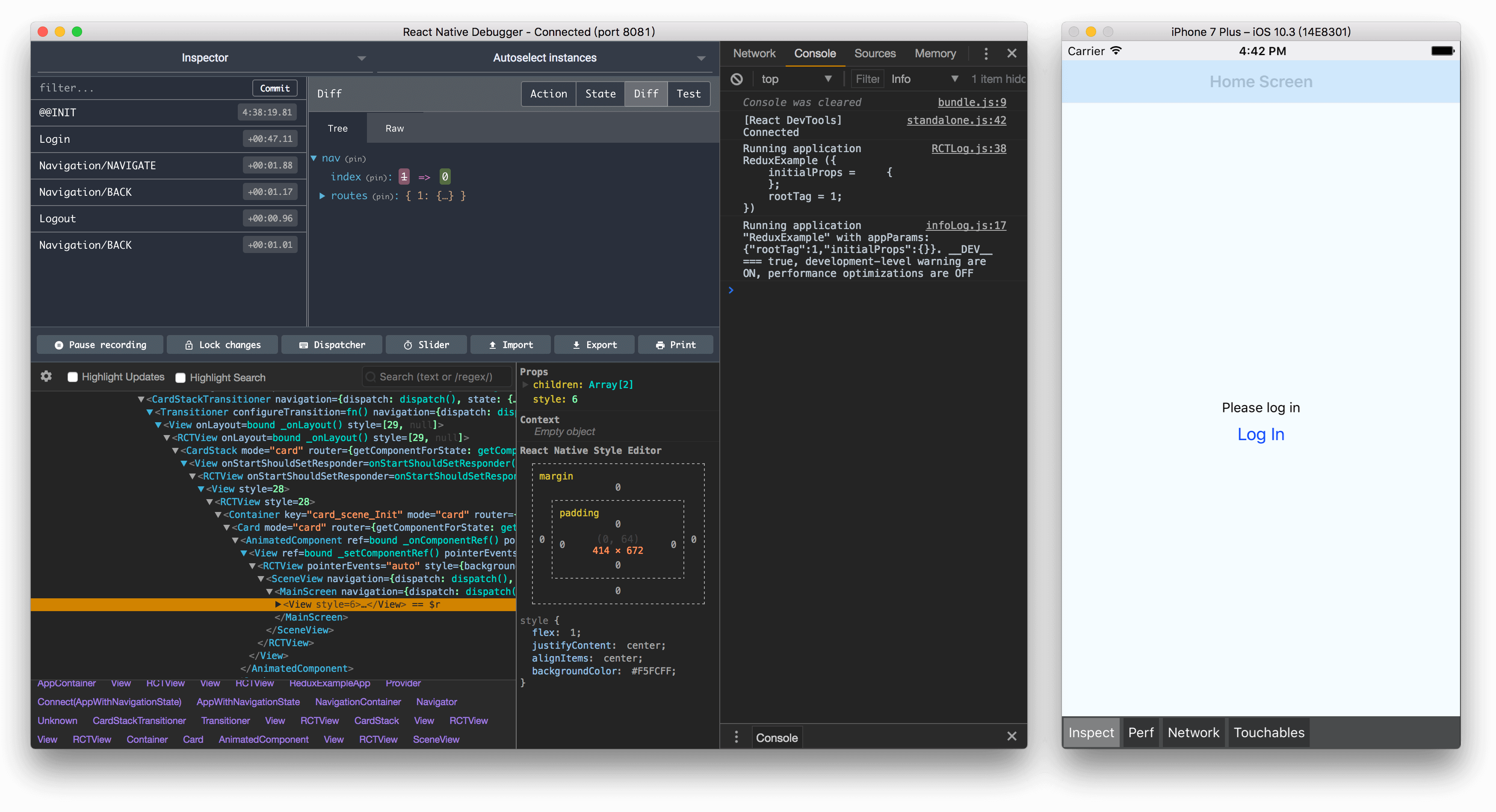 React Native Debugger 界面